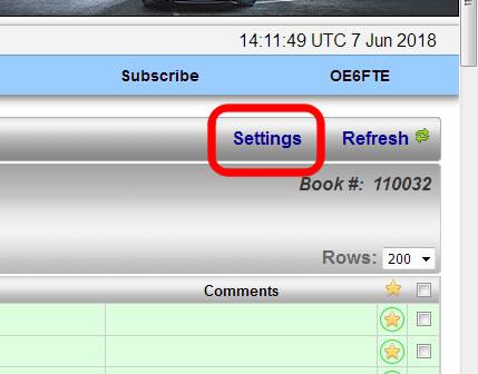 Accessing QRZ.com logbook settings